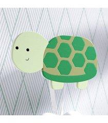 cabideiro de parede tartaruga mdf grã£o de gente verde - verde - dafiti