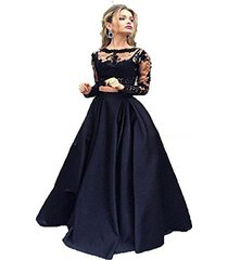 fnks long sleeve satin two piece prom dress evening gown black us 22 plus