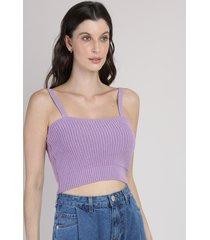 top cropped de tricô feminino mindset canelado alça fina decote reto lilás