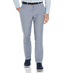 men's slim fit linen blend textured suit pant