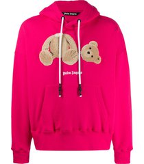 palm angels teddy bear patch hoodie - pink