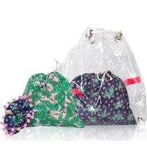 mochila conjunto infantil ania store folhas e coqueiros feminina