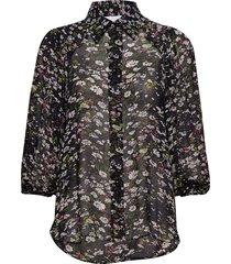printed georgette blouse lange mouwen zwart ganni