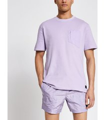 river island mens pastel tech purple nylon pocket t-shirt