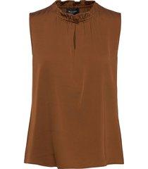 satin stretch - raya f blouse mouwloos bruin sand