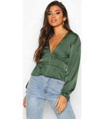 satin button through peplum hem blouse, green olive