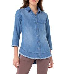 women's liverpool fray hem button shirt, size x-small - blue