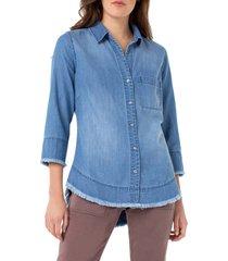 women's liverpool fray hem button shirt, size x-large - blue