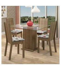 conjunto sala de jantar madesa maya mesa tampo de vidro com 4 cadeiras rustic/floral hibiscos