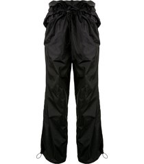 y/project high rise ruched trousers - black