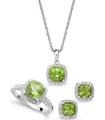 sterling silver jewelry set, peridot (4-3/4 ct. t.w.) and diamond accent necklace, earrings and ring set