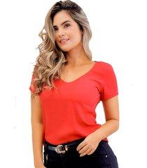 blusa en chifón manga corta roja unipunto 32375