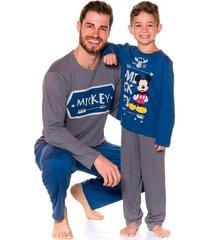 pijama evanilda camiseta manga longa e calã§a mickey azul e mescla - azul/cinza - menino - algodã£o - dafiti