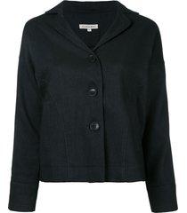 caramel buttoned jacket - black
