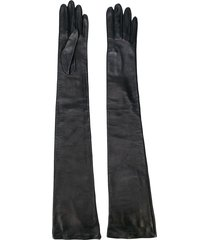 rochas long fitted gloves - black