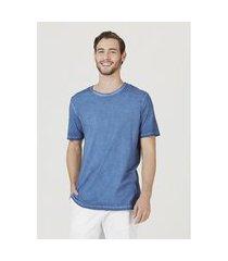 camiseta hering básica manga curta em malha de algodáo azul