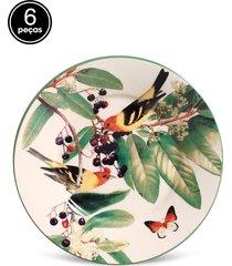 conjunto 6pçs pratos de sobremesa porto brasil mônaco pássaros branco
