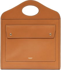 burberry medium bridle pocket tote bag - brown
