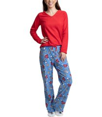 muk luks fleece top, pants & socks 3pc pajama gift set