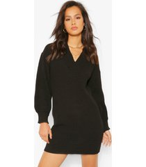 balloon sleeve v neck knitted dress, black