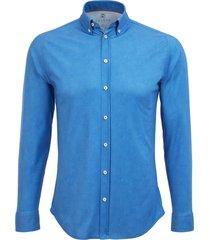 desoto heren overhemd effen jersey oxford button-down