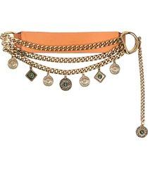 etro leather and metal orange belt with pendants