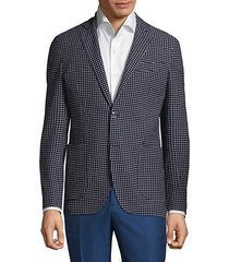 checkered slim-fit jacket