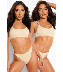 2 pack seamfree scoop bralette, nude