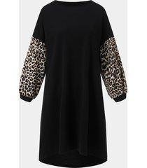 remiendo del leopardo negro mangas largas vestido