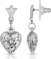2028 textured heart drop earrings