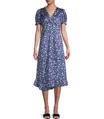 twist-front floral midi dress