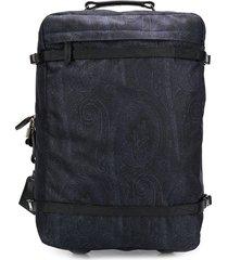 etro paisley print suitcase - blue
