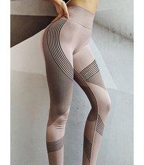 leggings deportivos de cintura alta geométricos rosas