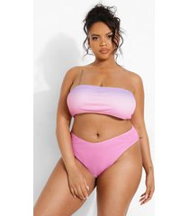 plus gekreukelde strapless dip dye bikini top, pink