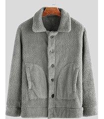 incerun abrigo de manga larga de un solo pecho de piel de felpa de invierno para hombre