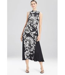 mantilla scroll sleeveless dress, women's, black, silk, size 0, josie natori