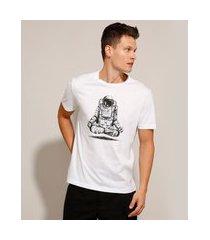 camiseta de algodão astronauta manga curta gola careca branca