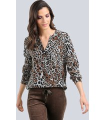blouse alba moda bruin::antraciet::grijs
