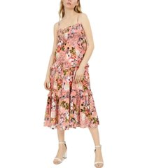 inc petite cotton floral-print smocked maxi dress, created for macy's