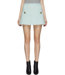 low rise trapeze tweed mini skirt