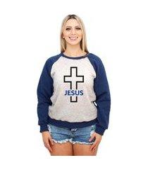 moletom raglan feminino mescla religioso crucifixo jesus