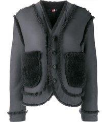 thom browne reversible drop-shoulder shearling jacket - grey
