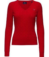 stretch cotton cable v-neck gebreide trui rood gant