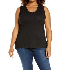 plus size women's caslon muscle tank, size 1x - black