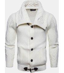 maglia da uomo casual in maglia morbida pulsanti traspirante e flessibile