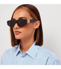 balenciaga women's bb logo oval acetate sunglasses - black/gold