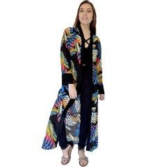 kimono largo negro hojas colores natalia seguel