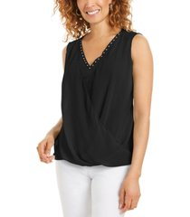 jm collection sleeveless studded draped top, created for macy's