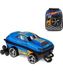 mochila 3d com rodinhas e lancheira hot wheels d-muscle 2500am19 lançamento masculina