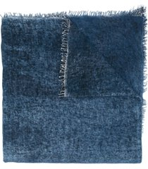 avant toi denim-look cashmere scarf - blue
